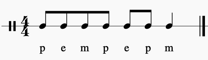 p = mão espalmada no peito; m= bater palmas; e= estalo de dedos.